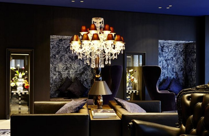 The darkly cool lounge at the Andaz Amsterdam Prinsengracht.