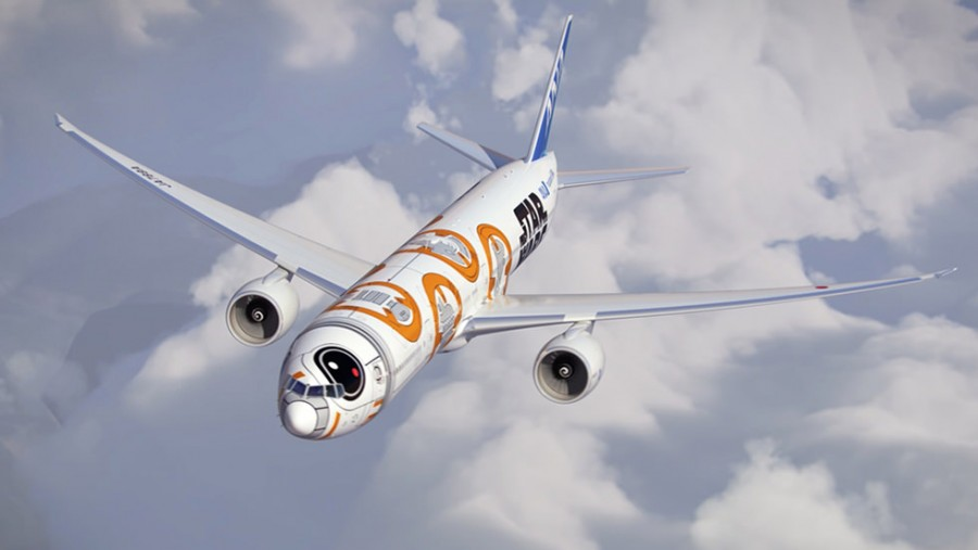The BB-8 ANA Jet features a character that will be introduced in the new Star Wars film coming out in December.