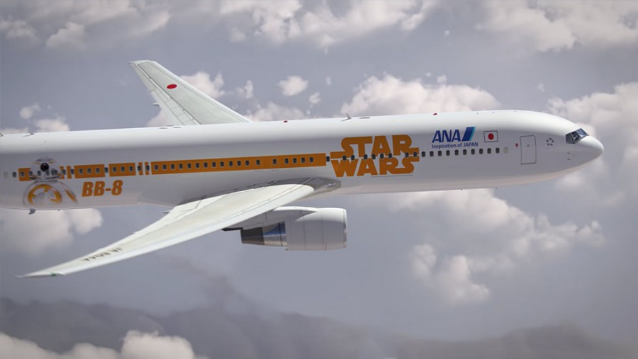 One side of the Star Wars ANA Jet, showcasing BB-8.