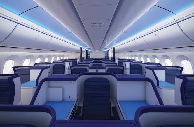 ANA's premium cabin aboard the Dreamliner.