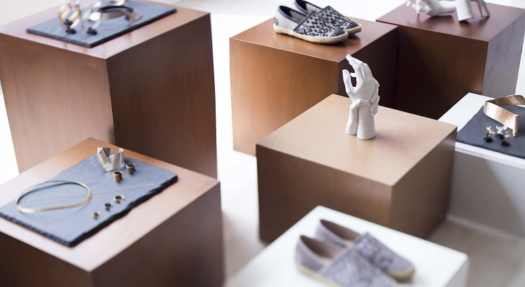 A selection of footwear and jewelry showcased at Ara.