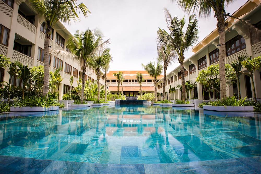 The newly opened Alma Courtyard Hoi An offers tranquil terraced swimming pools.