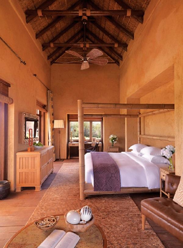 A villa bedroom at Anantara Al Sahel.
