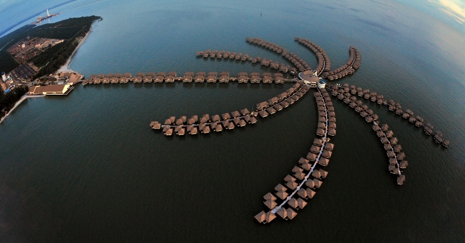 The above-water resort's palm shape.