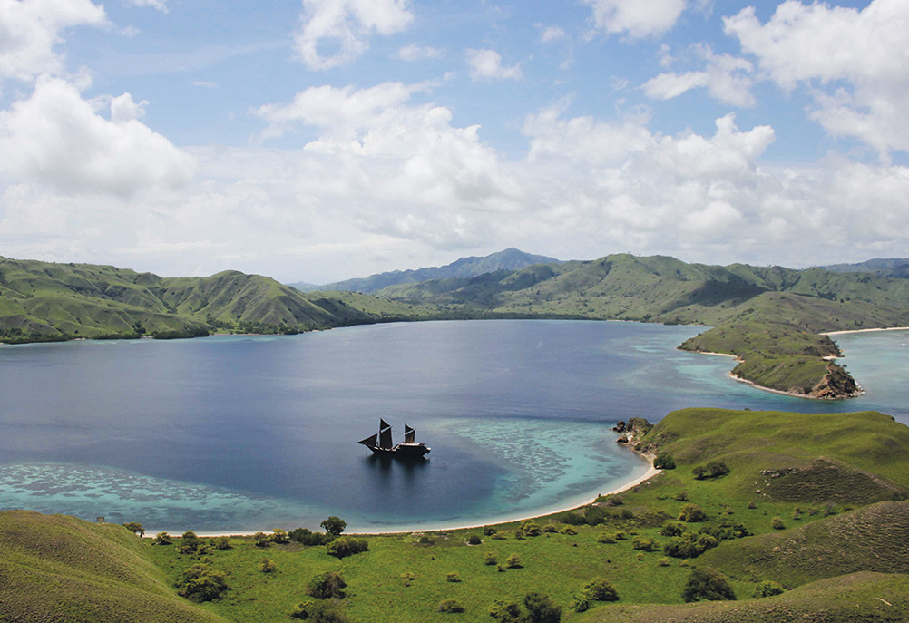 Alila Purnama at anchor in Komodo National Park.