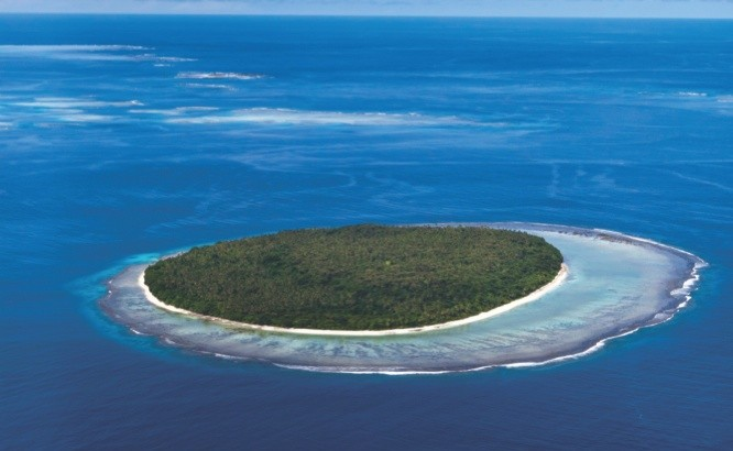 Aerial view of atoll in Tonga Polynesia