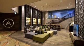 The library lounge at Aerotel Singapore.