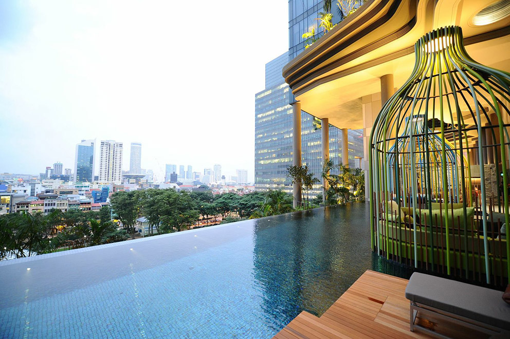 The infinity pool and view at the Parkroyal on Pickering.