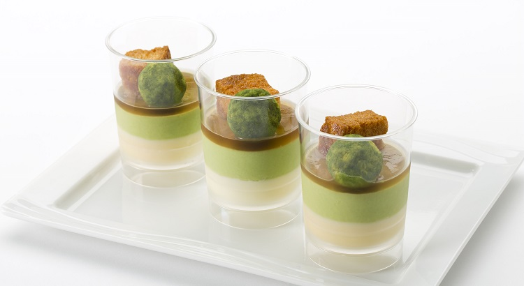 A dessert comprised of green tea and soybean milk blancmanges masterpieces.