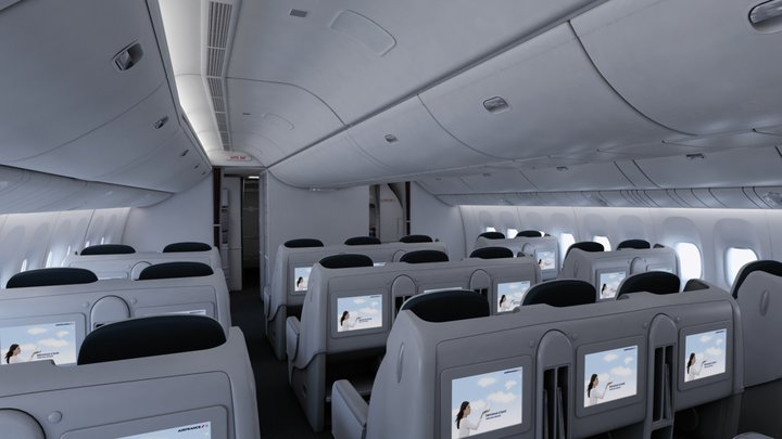 The interior of Air France Business Class.