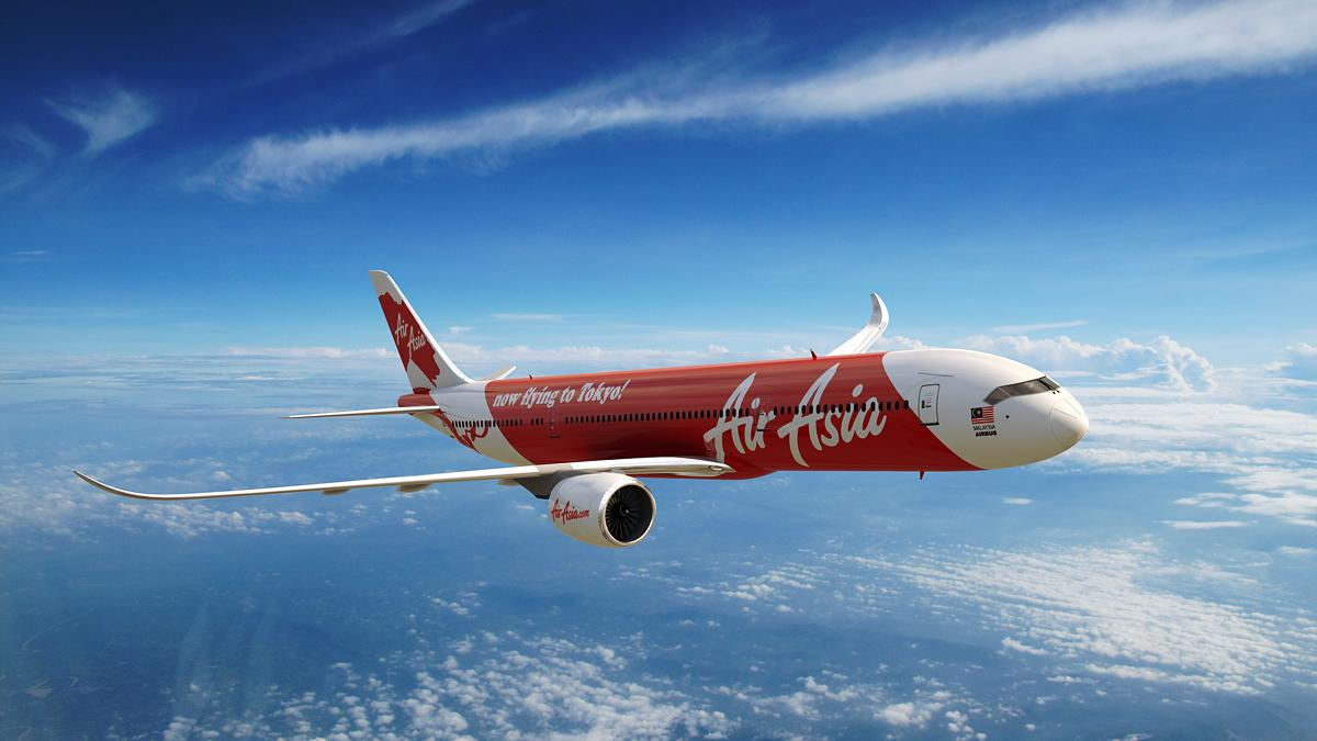 An AirAsia commercial flight takes to the air.