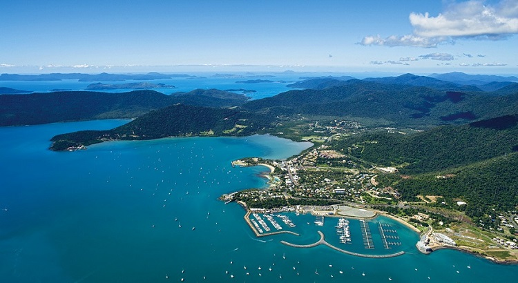 An aerial view of Airlie Beach.