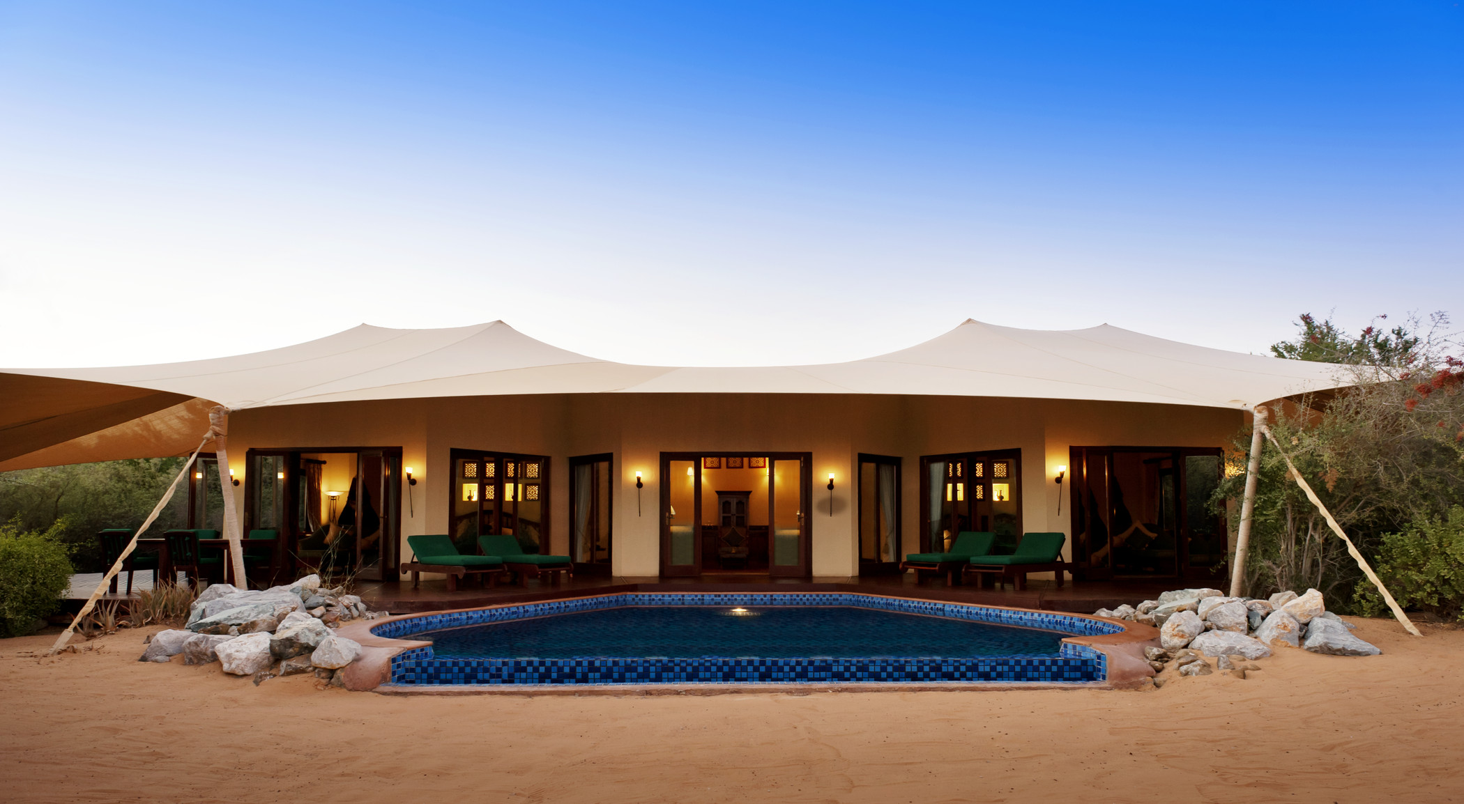 Al Maha is a luxe version of a Bedouin camp.