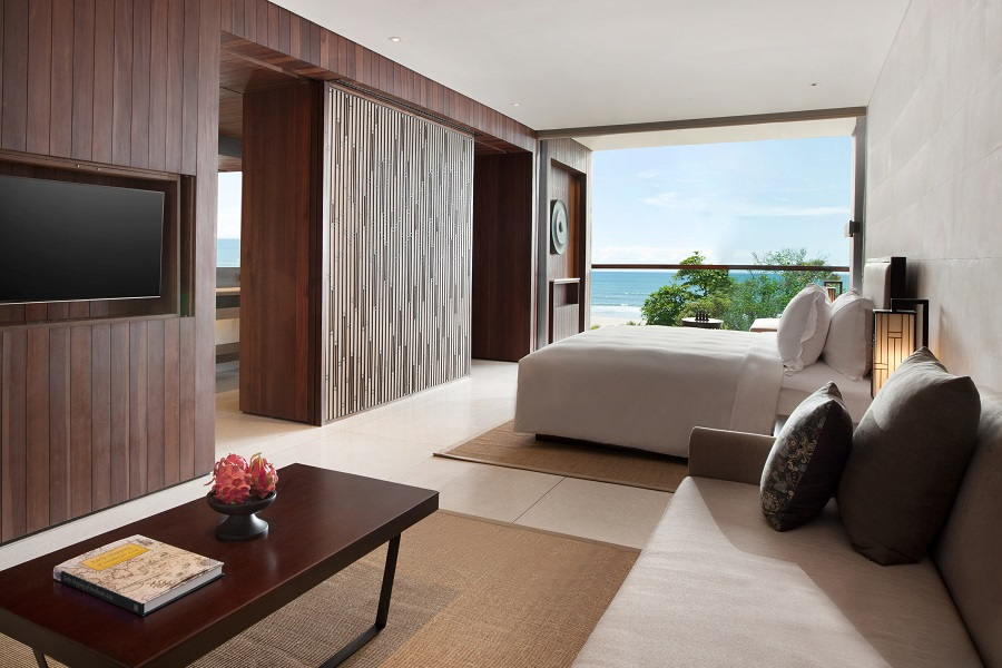 A view from one of the rooms, overlooking the sea.