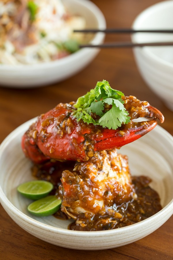 A rendition of Singapore chili crab in the restaurant.
