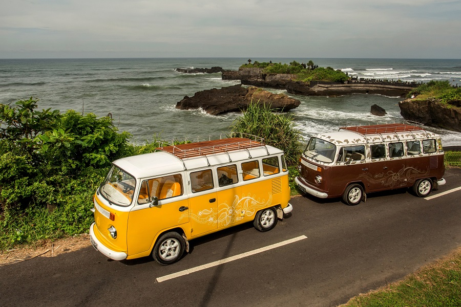 Retro Volkswagen vehicles to take guests on a romantic trip along the coast.