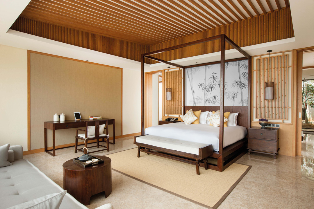 A villa bedroom at Alila Anji.