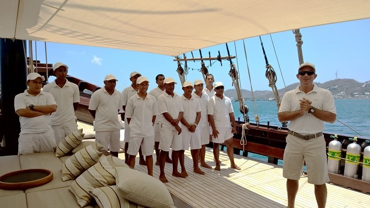 Benoit Martin-Laval, cruise manager of Amandira, with some of his crew members on board the boat.