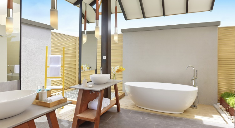 Spacious bathroom in the overwater villa.