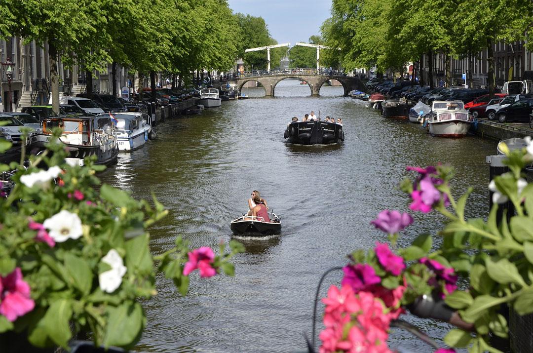 Cruising through Amsterdam's canals.