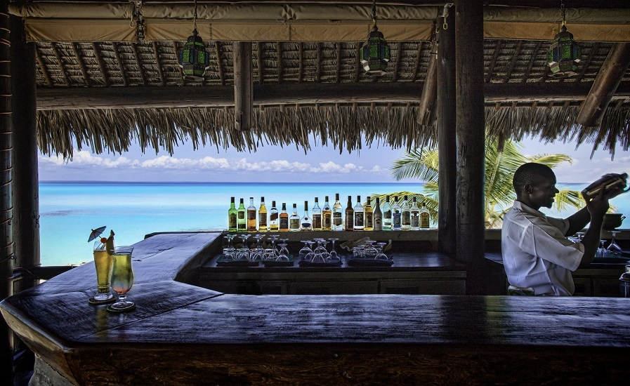 The resort's tropical bar.