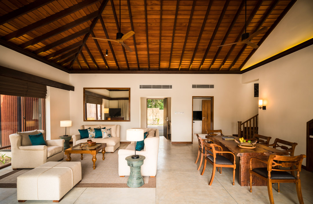 Inside one of the spacious villas.