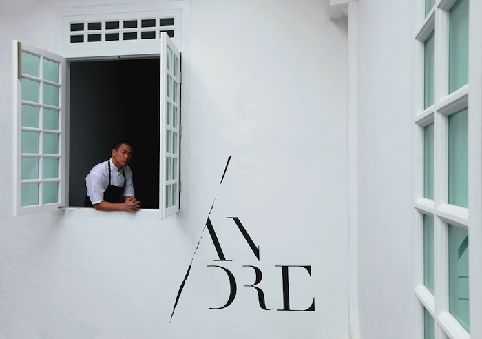 André Chiang looking out of his restaurant.