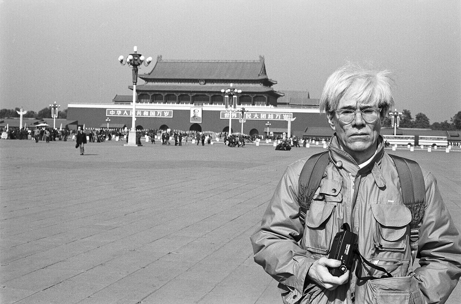 Andy Warhol in Tiananmen Square shot by Christopher Makos in 1982.