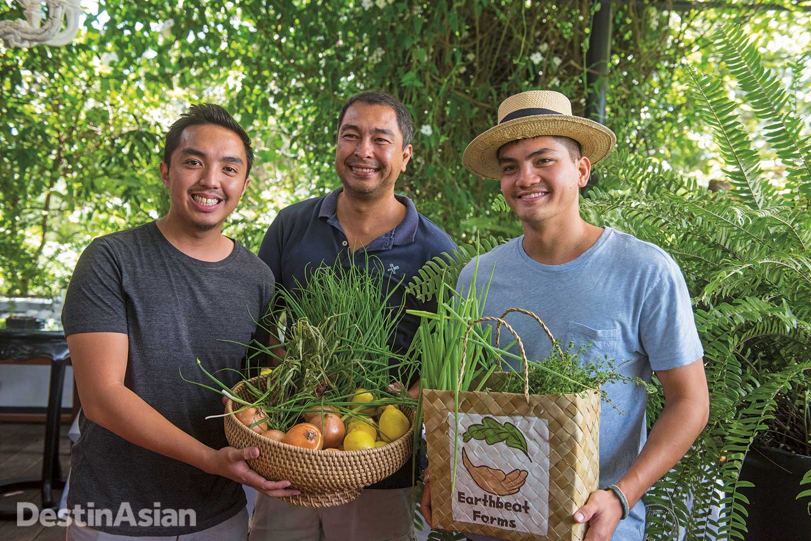 Raphael Teraoka Dacones of Teraoka Farms with fellow farmers Nicolo Aberasturi of Earth Flora, Inc. and Earthbeat Farm's Enzo Pinga.
