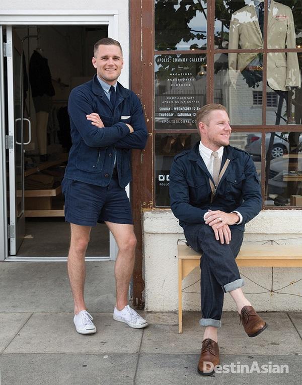 Shea and Raan Parton outside social retailer Apolis.