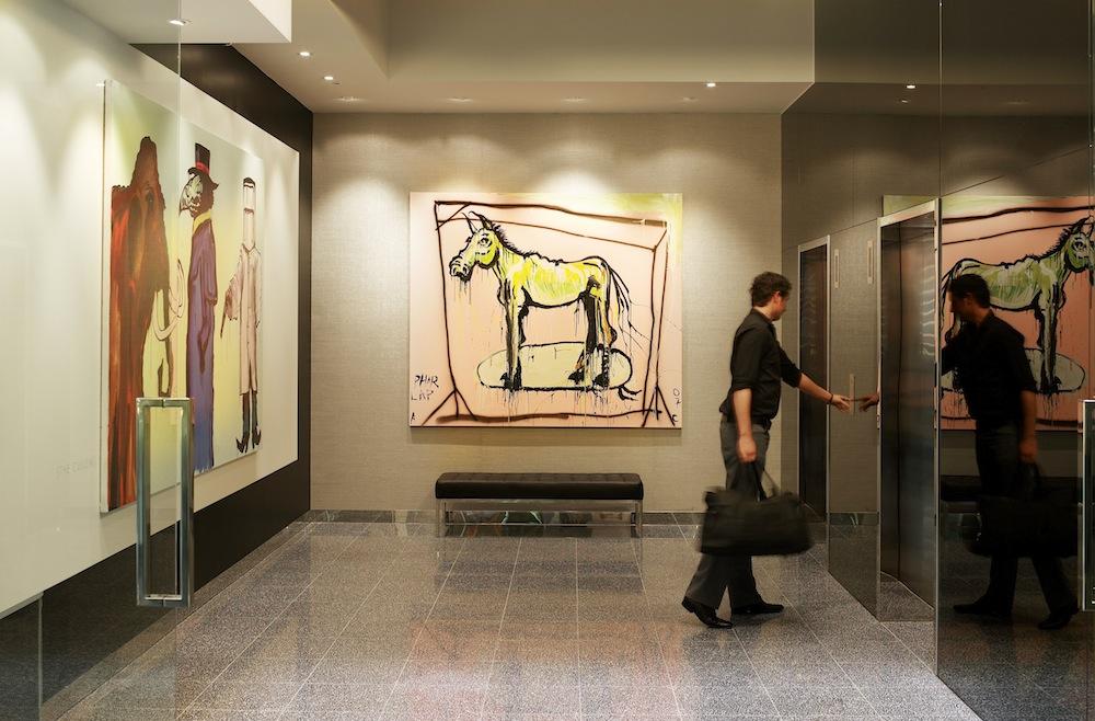 Adam Cullen's art decks the lobby and guest rooms.