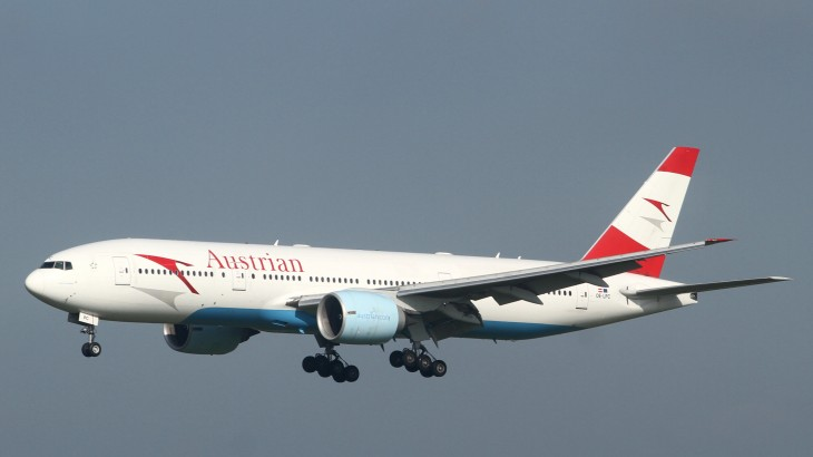 Austrian Airlines' Boeing 777-200 aircraft.