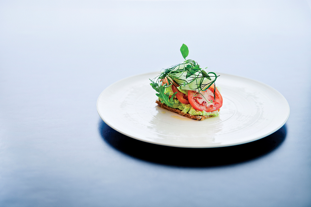 The hotel's healthful Shambhala menu includes dishes like avocado, vine-ripened tomatoes, and rocket on rye toast.