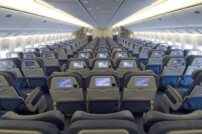 The interior of the B777 Economy Class.