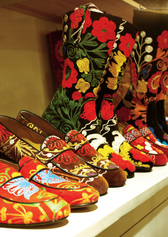 Hand-embroidered footwear at the Michèle Baconnier Boutique.