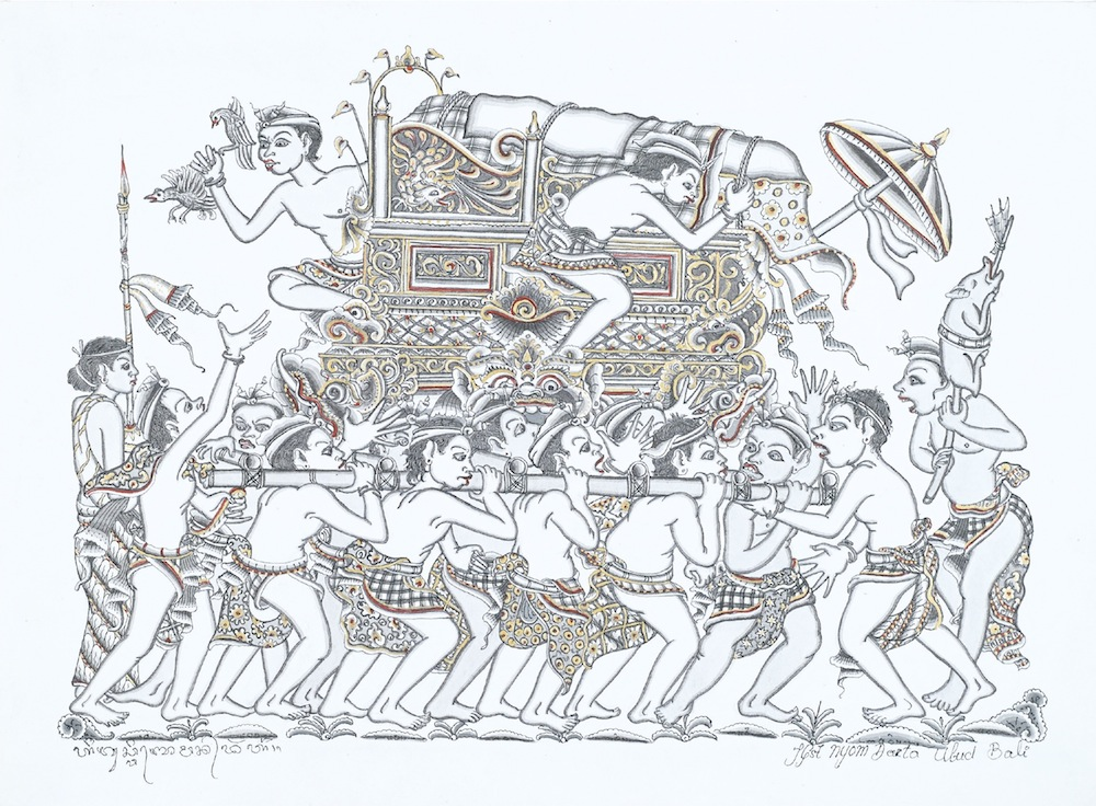 An illustration from the book of a traditional Balinese funeral.