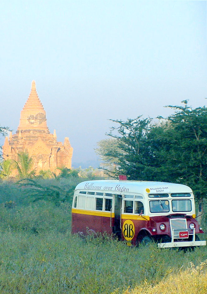 Eastern Safaris' guests travel between ballooning sites in a lovingly resorted Yangon bus.