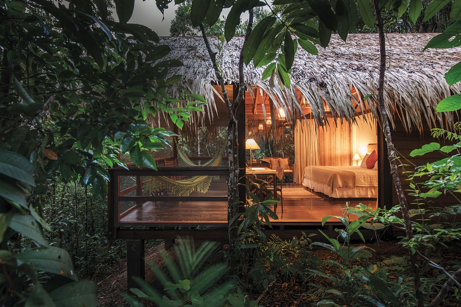 A bungalow at Anavilhanas Jungle Lodge in the upper reaches of the Brazilian Amazon.