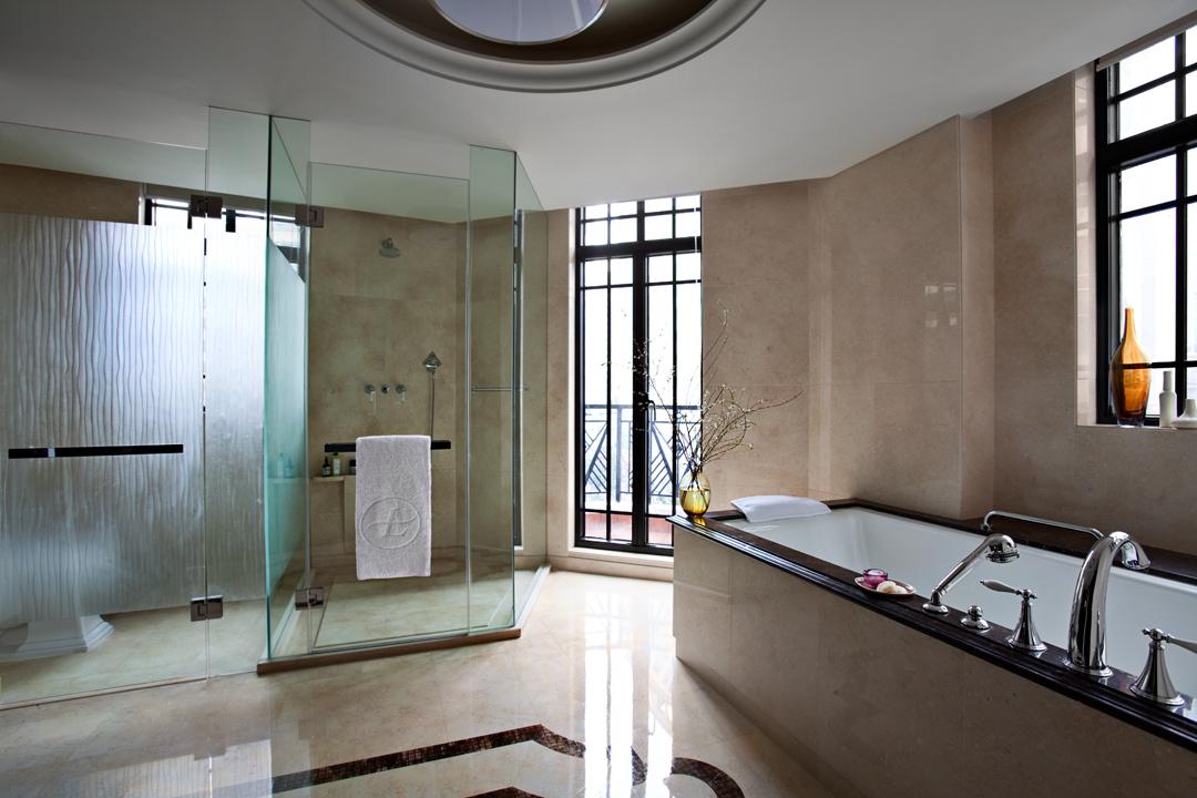 Shanghai hotels bathroom of art deco junior suite at the langham yangtze boutique hotel