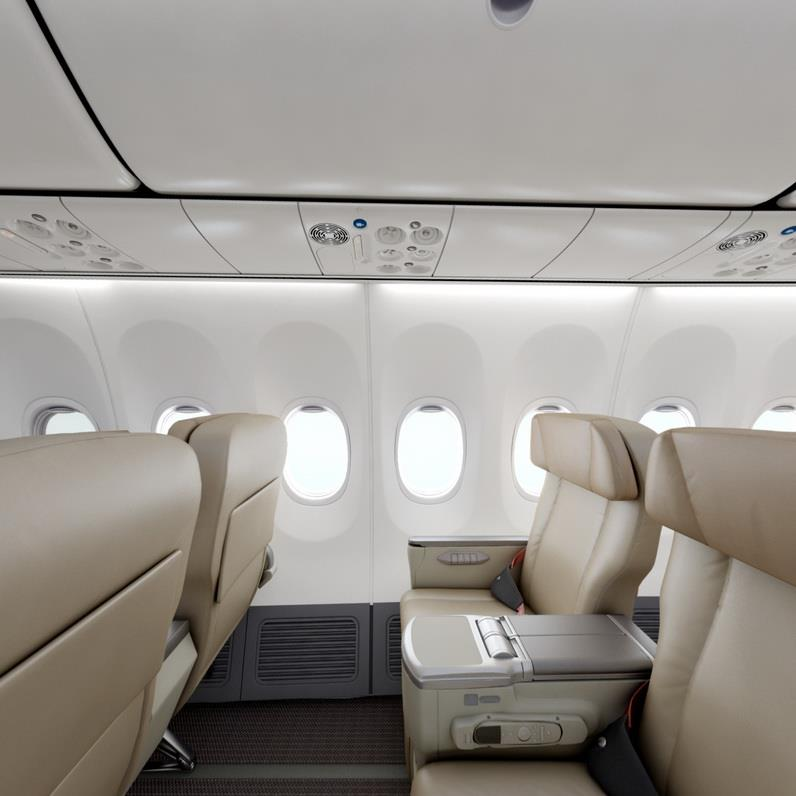 Aircrafts used on the Jakarta−Singapore route are comprised of economy and business cabins.