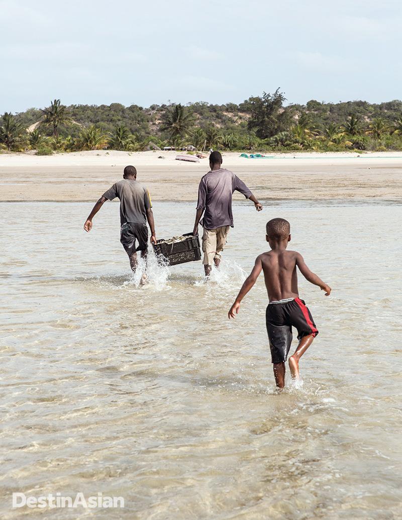 Carrying fish ashore to Benguerra Island