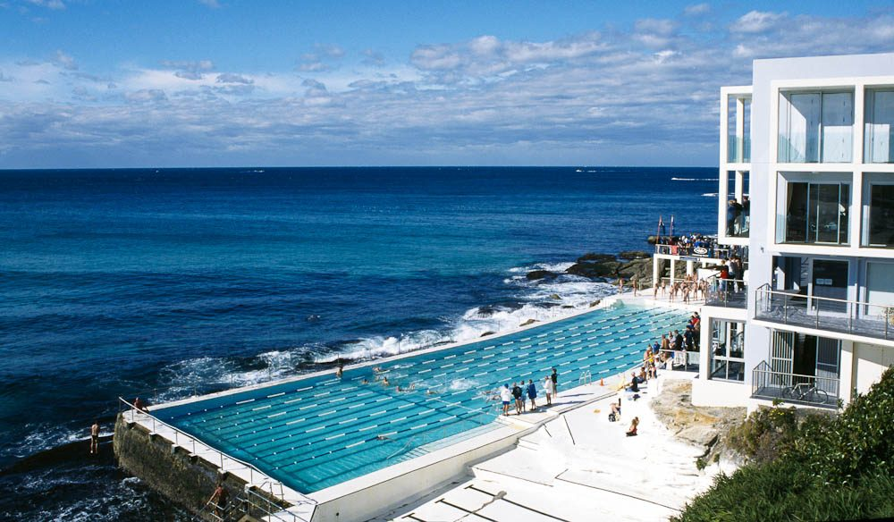 The legendary Bondi Icebergs standing tall against the majestic waves.