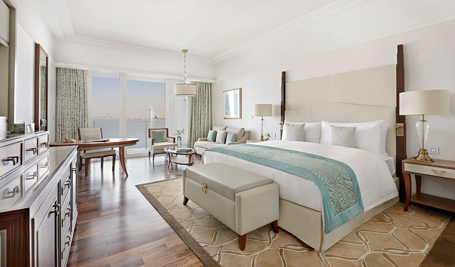 Every room at the hotel has sweeping views of the Arabian Gulf and the Dubai skyline, including the Burj Khalifa.