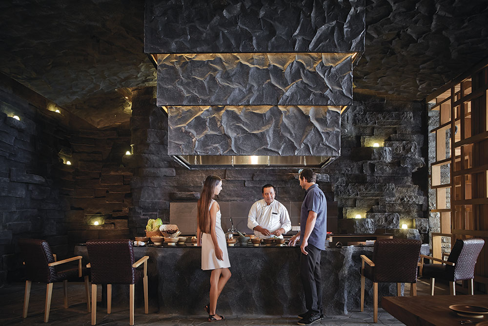 With its open kitchen, Bejana's Culinary Cave provides a unique setting for gourmet cooking experiences.