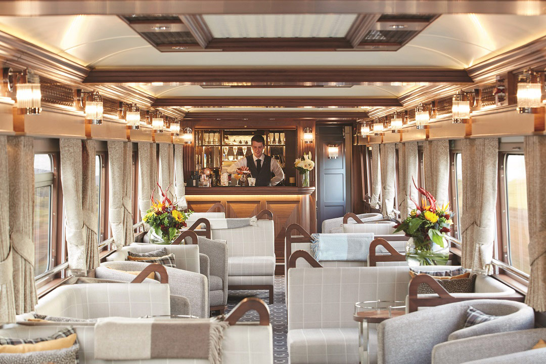 The cozy, elegant bar on board the Belmond Grand Hibernian.