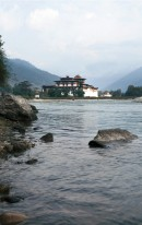 Looking across the Mo River to Punakha Dzong.