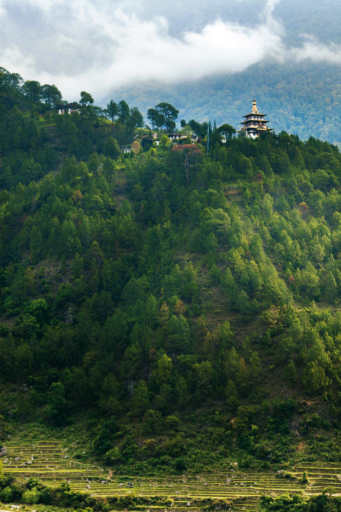 A  hilltop monastery near the old Bhutanese capital of Punakha.