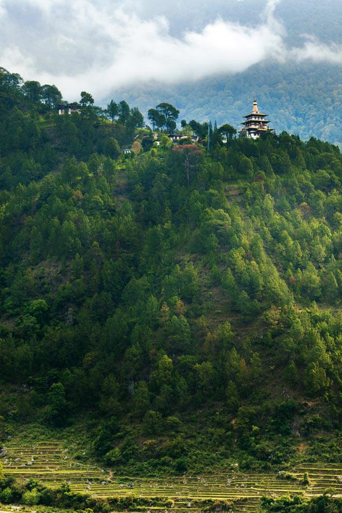 A  hilltop monastery near the old Bhutanese capital of Punakha.