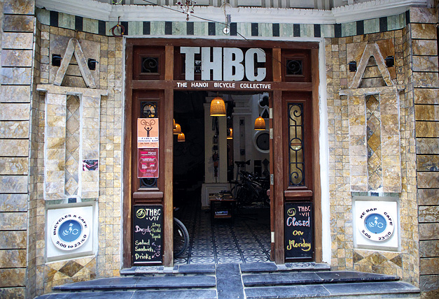 The exterior of the Hanoi Bicycle Collective.