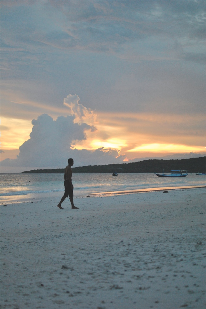 Sunset at Pantai Bira, the area's picturesque white-sand beach.